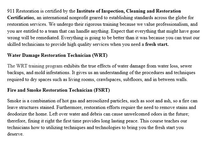 911 Restoration Seattle Certifications