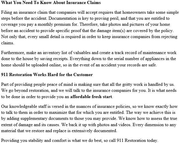 911 Restoration Seattle Insurance