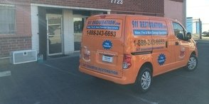 Mold Cleanup and Water Damage Restoration Van Being Prepped