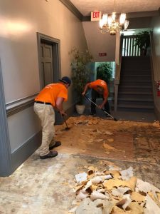 Professional Mold Experts Removing A Moldy Floor