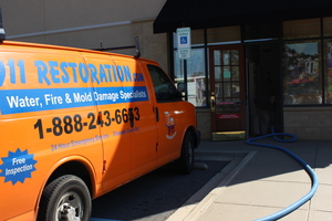 Mold Remediation Van At A Local Business
